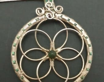 Green Niobium and Sterling Silver Wire Wrapped Flower of Life Pendant, Green Quartz