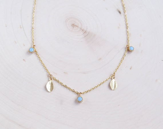 Delicate Turquoise Necklace | Delicate Leaf Necklace | Dainty Necklace | Boho Necklace | Gift for Her | Layering Necklace
