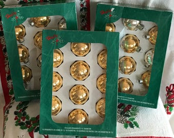 Three Boxes of Vintage Holly brand gold and silver glass Christmas Tree ornaments in original boxes / Vintage Christmas Tree Decor / Holly