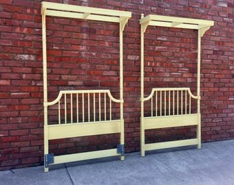 Pair Twin Headboards Faux Bamboo Canopy Thomasville Vintage Palm Beach Chinoiserie Chic Vtg Twin Beds Hollywood Regency