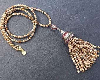 Ethnic Turkish Tassel Necklace Beige Jasper Stone Gemstone Greek Key Pattern Statement Gypsy Hippie Bohemian Artisan OOAK