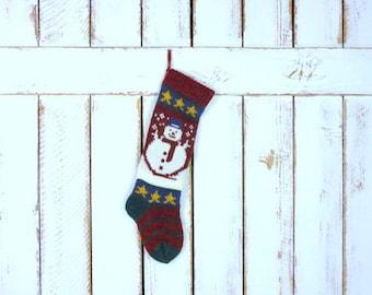 Vintage thick woven knit snowman/star Christmas stocking/sweater xmas sock/retro xmas sock