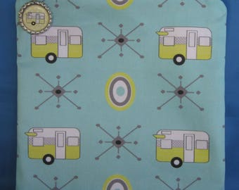 """Camping Zipper Tote, Purse, Bag 8"""" X 8"""" Vintage Yellow Shasta Style Trailers on Aqua"""