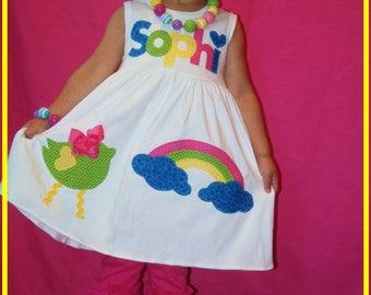 Rainbow Dress, Toddler Rainbow Dress, Name Dress, Personalized Rainbow Dress, Rainbow Bird, Rainbow Birthday Dress, Girls Rainbow Dress
