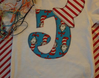 Initial Birthday Shirt for Children / Cat N The Hat Birthday / Dr. Seuss Birthday
