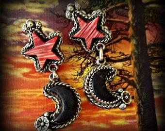 Western Moon and Star Sterling Earrings