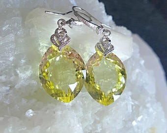 New! Lemon Yellow Topaz Gemstone Dangle Drop Solitaire Earrings on Crystal Pave Earwires Bridal Jewelry Gift for her