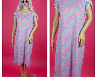 Vintage 1980s Pastel Pink and Blue Sun Dress