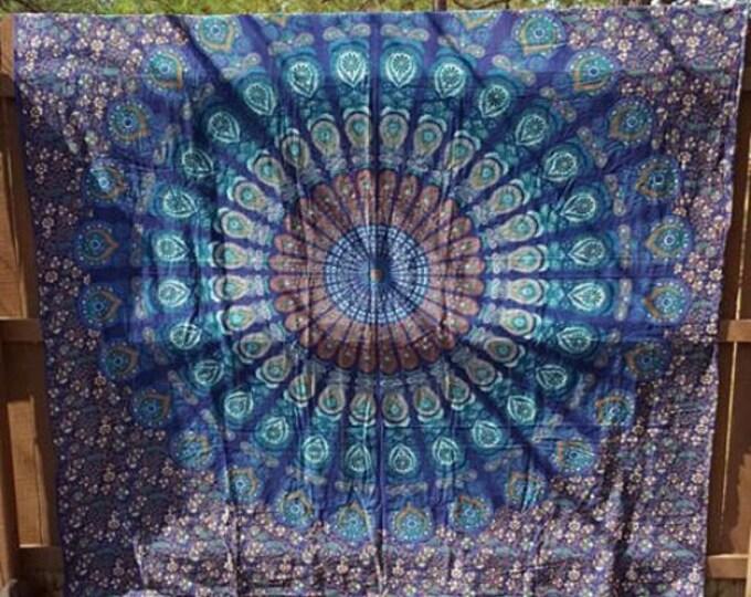 Navy Blue Peacock Mandala Tapestry Boho Hippie Tapestry Wall Hanging Beach Blanket Yoga Meditation Mat Dorm Decor Music Festival