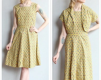 20% Off Sale // 1950s Dress // Sun Kissed Dress & Bolero // vintage 50s dress set
