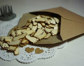 100 Tiny Natural Wood Baby Feet approx. 20mmx11mm ~ *Table Scatters *Embellishments *Baby Shower
