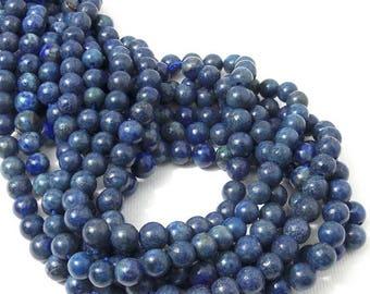 Lapis Lazuli, 6mm, Round, Smooth, with Pyrite, Gemstone Beads, Small, 16 Inch Strand, 68pcs - ID 2261
