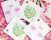 Flamingo Gift Tags, Summer, Favor Tag, Flamingo Favor Tag, Palm Leaf, Palms, Tropical, Party, Flamingo Party, Palm Leaves, Let's Flamingle