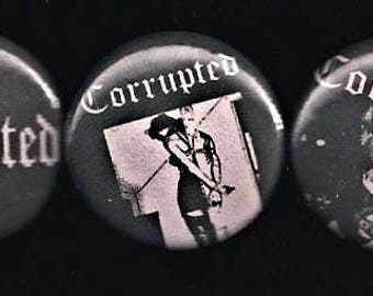 """Corrupted 1"""" Pins Buttons Badges Set 3 Japanese Doom Metal Sludge Grief Dystopia"""
