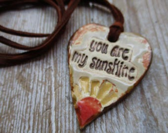 Essential Oil Necklace you are my sunshine