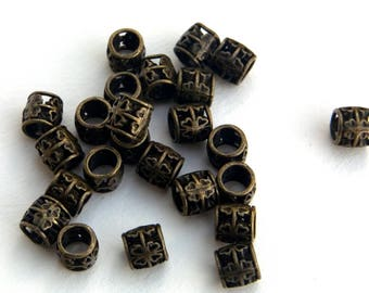 100 Pack of Tibetan Style Alloy European Beads Drum with Clower Hollow Large Hole Beads Antique Bronze 7x7mm Jewlery Beads Paracord Beads