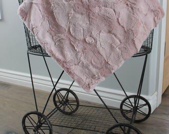 baby blanket, minky blanket, iced pink  lovey minky blanket, 20 x 20 unisex baby blanket, baby gift, baby shower gift, unisex gift