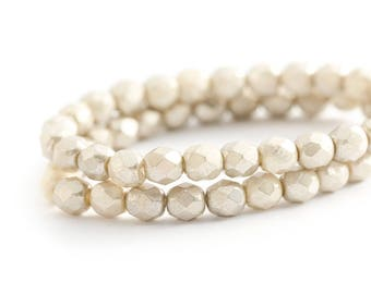 WE'RE BACK! Opaque Faceted Round Spacer Beads, Beige Silver Champagne Fire Polished Czech Glass, 6mm x 25pc (0012)