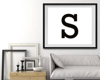 WEEKEND SALE Letter S in 4 color choices, Monogramed Photo Print or Canvas kids Wall art