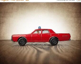 FLASH SALE til MIDNIGHT Vintage Fire Chief Matchbox Car with driver, One Photo Print, Boys Room decor, Nursery Decor