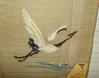 "Vintage Needlepoint Canvas-Crane in Flight- by Prismacolor-15"" Sq-Made in China"
