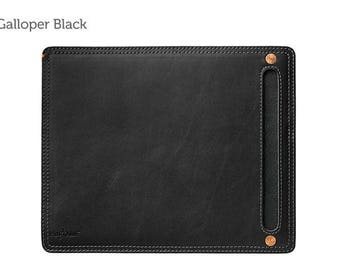 Galloper Black Leather Mouse Pad & Desk Protector l Leather Mouse Pad