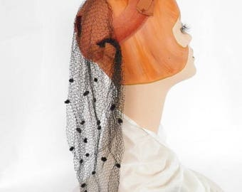 Woman's 1940s hat, calotte with snood, WW2 excellent
