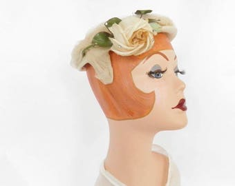 1950s cocktail hat, vintage rose and tulle