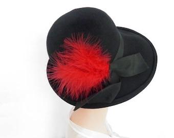 Black fedora hat, 1960s vintage tilt, red feather, Macy's New York