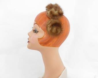 Vintage fur headband hat, 1960s brown mink