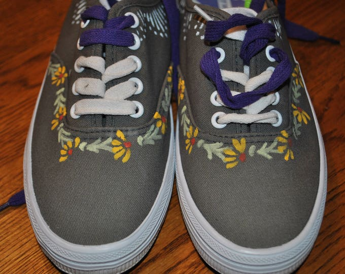 For Sale Cute size 5 gray hand painted sneakers