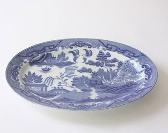 Vintage Blue Willow Ceramic Platter from Japan