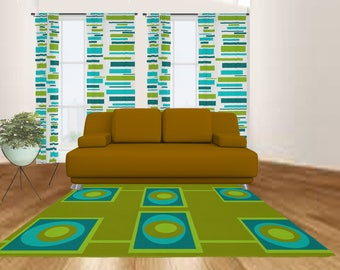 Modern Rug  Area Geometric Living Room Cool Green area rug Etsy
