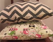 ON SALE, SPRING Sale Pillow Cover/ Shabby Chic Pillow Cover/ Owl Pillow Covers/ 2 Pillow Covers/ Handmade Pillow Covers/ Chevron Print