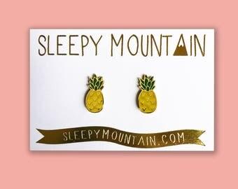 Pineapple Earrings - Gold Plated Sleepy Mountain Fruit Studs