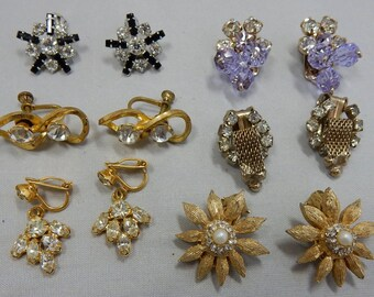 Lot of 6 pr Vintage Rhinestone Clip and Screw Back Earrings WEISS & B. DAVID