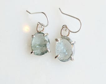 Aquamarine and Sterling Silver Earrings - drop earrings - aquamarine earrings - gemstone earrings - birthstone earrings - march birthstone