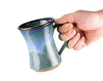 Large hourglass mug in Storm glaze / coffee mug | tea mug |  handmade mug / Sold Individually, priced per mug/ Wheel thrown pottery