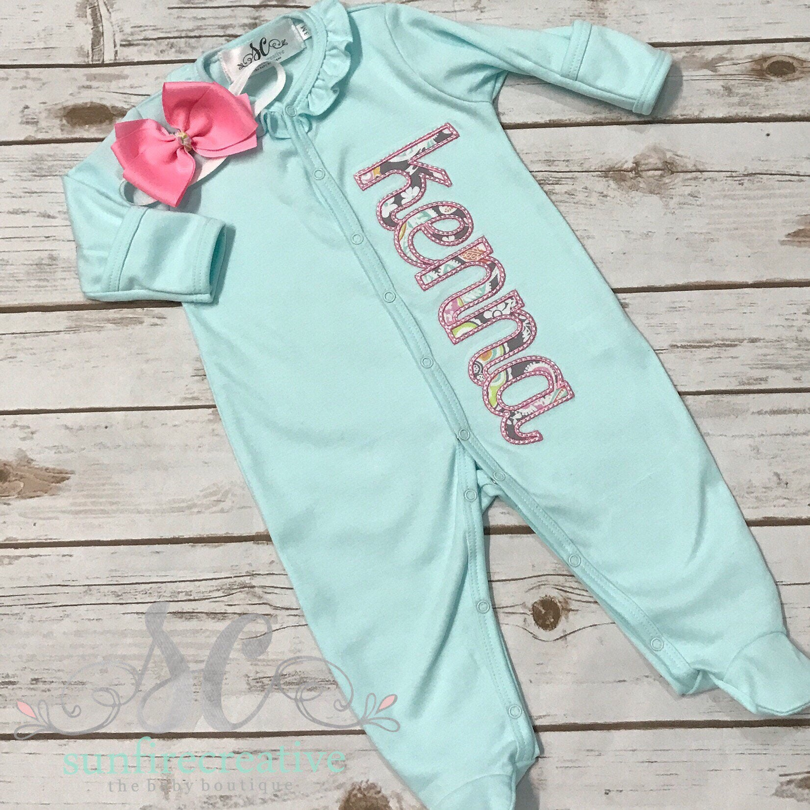 Baby Girl ing Home Outfit Mint Sleeper With Bow Baby Gown