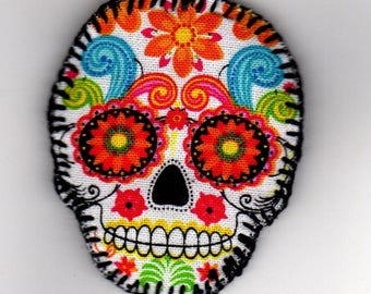 Halloween, Quilted Skull Pin (HQSP03b)