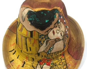 Gustav Klimt Kiss Hand Painted Designer Fedora Original Art Work One of a Kind