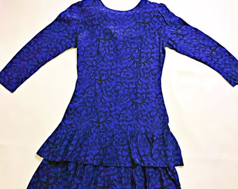 80's Vintage Blue Ruffle  Dress