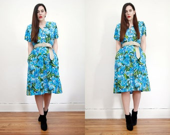 Vintage Floral  Tropical Hawaiian Kaftan Kimono Dress