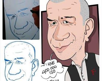 Caricature personalizzate digitali a colori in formato a3 idea regalo per eventi