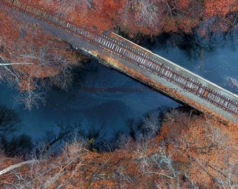 Above the Tracks - Photo - Industrial Train Rails Railroad Traintracks From Above Drone Aerial View Grungy Rusty Photograph
