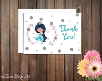 Thank You Cards - Princess Jasmine and Laurel in Watercolor Style - Aladdin Arabian Princess - Set of 10 with Envelopes