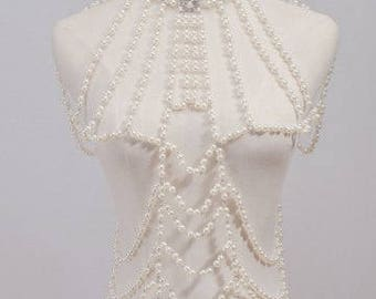 Extravagant Faux Pearl Choker Body Jewelry Slave Chain Armor Made to order