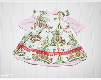 """18"""" Doll Size Holiday Tree Dress Set *Special Price* - White dress trees birds snaps velcro flutter sleeve nelle*s ruffle cotton knit pink"""