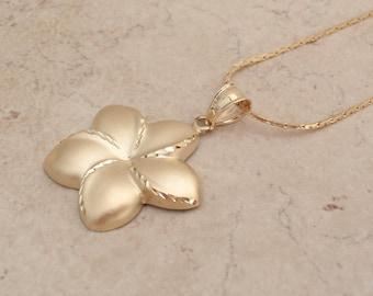 14K Plumeria Necklace Pendant Tropical Vintage 011816YU