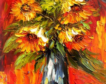 Painting ORIGINAL Colorful Sunflowers painting impasto Textured painting bright colors palette knife painting ready to hang gift